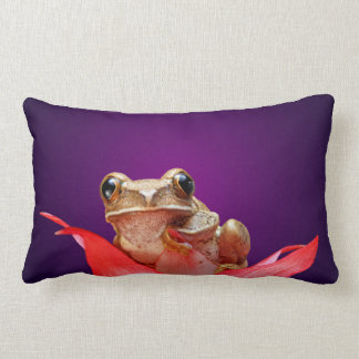Cute Marbled Reed Frog Red Flower Deep Purple Lumbar Pillow