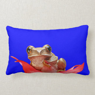 Cute Marbled Reed Frog Red Pink Flower True Blue Lumbar Pillow