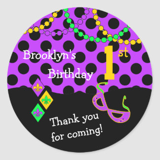 Cute Mardi Gras Theme 1st Birthday Seal