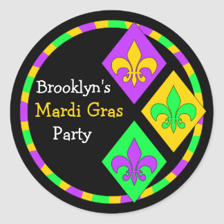 Cute Mardi Gras Theme Name Party Seal