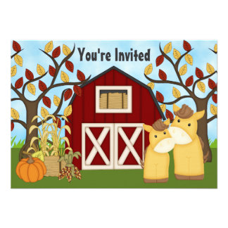 Cute Mare and Foal Autumn Horse Baby Shower Invite