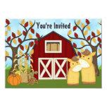"Cute Mare and Foal Autumn Horse Baby Shower Invite 4.5"" X 6.25"" Invitation Card"