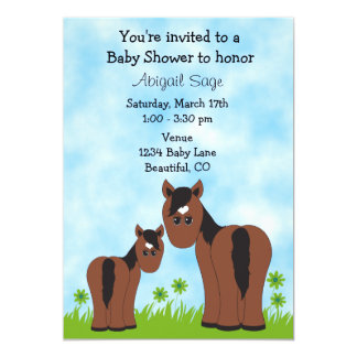 Cute Mare and Foal Horse Baby Shower Invitation