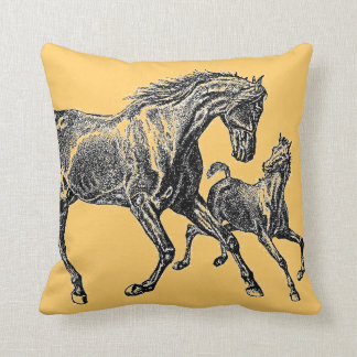 Cute Mare and Foal Horse Illustration Art Throw Pillow