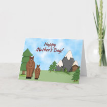 Cute Mare, Foal and Mountains Mother's Day Horse Card