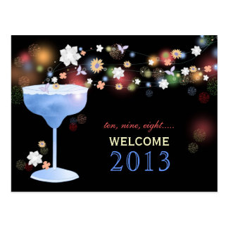 Cute Margarita Glass New Years Eve Party Postcards