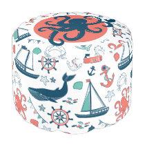 Cute Marine Life & Nautical Symbols Pattern 2 Pouf