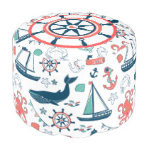 Cute Marine Life & Nautical Symbols Pattern Pouf