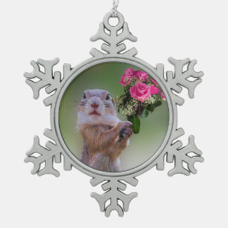 Cute marmot snowflake pewter christmas ornament