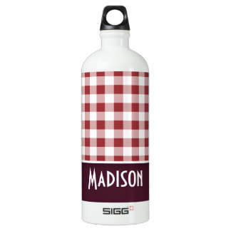 Cute Maroon Checkered SIGG Traveler 1.0L Water Bottle