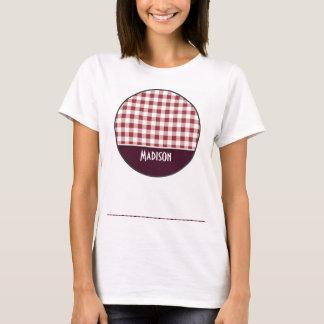 Cute Maroon Checkered T-Shirt