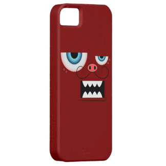 Cute Maroon Red Mustache Monster Emoticon iPhone SE/5/5s Case