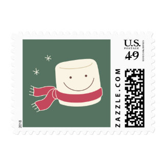 Cute Marshmallow Christmas Postage Stamps