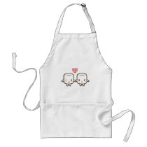 Cute Marshmallow couple Adult Apron