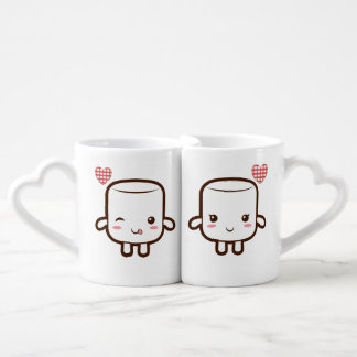Cute Marshmallow couple Couples' Coffee Mug Set