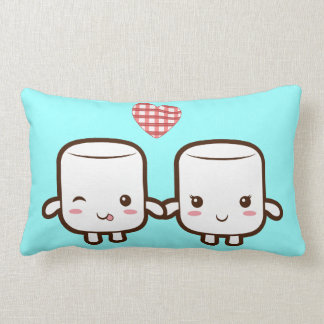 Cute Marshmallow couple Lumbar Pillow