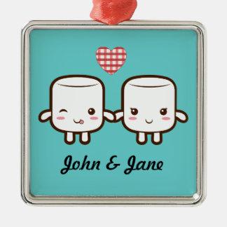 Cute Marshmallow couple Metal Ornament