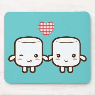 Cute Marshmallow couple Mouse Pad