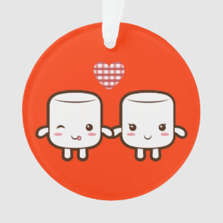 Cute Marshmallow couple Ornament