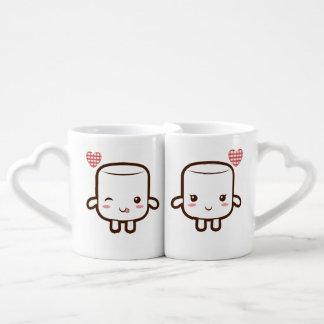 Cute Marshmallow couple Couples' Coffee Mug Set