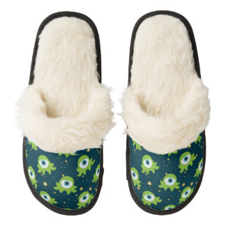 Cute Martians Pair Of Fuzzy Slippers