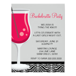 Cute Martini Bachelorette Party Invitation