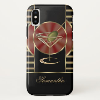 Cute Martini Cocktail Personalized iPhone X Case