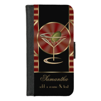 Cute Martini Cocktails Personalized iPhone 8/7 Wallet Case
