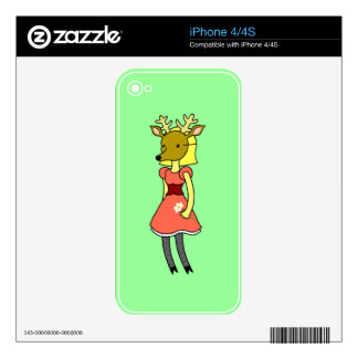 Cute Masked Deer Girl Decal For The iPhone 4S