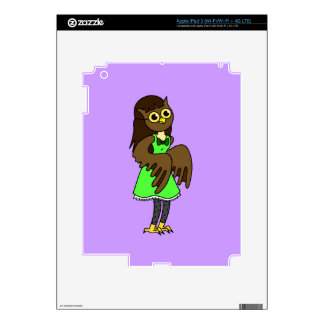 Cute Masked Owl Girl Decal For iPad 3