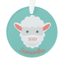 Cute Masked Sheep Lamb Design Acrylic Ornament