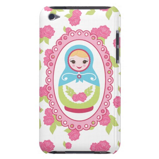 Cute Matryoshka Russian Nesting Doll and Roses Barely There iPod Cases