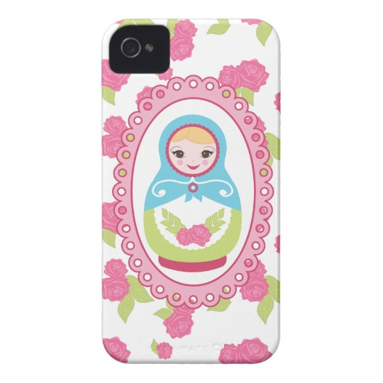 Cute Matryoshka Russian Nesting Doll and Roses iPhone 4 Cover