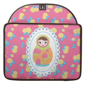 Cute Matryoshka Russian Nesting Doll and Roses Sleeves For MacBook Pro