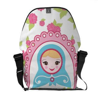 Cute Matryoshka Russian Nesting Doll and Roses Messenger Bag