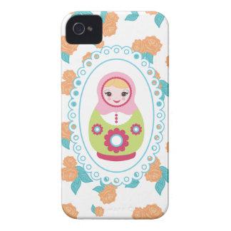 Cute Matryoshka Russian Nesting Doll & Orange Rose iPhone 4 Case