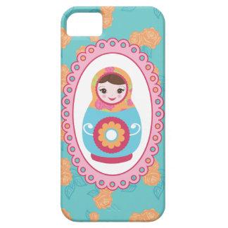 Cute Matryoshka Russian Nesting Doll & Orange Rose iPhone SE/5/5s Case