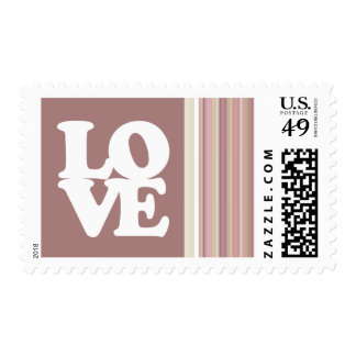 Cute Mauve, Brown Stripes Postage