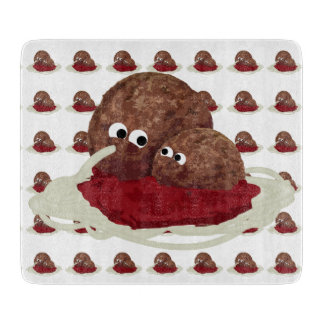 Cute Meatball Eating Spaghetti Cutting Board