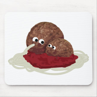 Cute Meatball Eating Spaghetti Mousepad