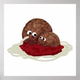 Cute Meatball Eating Spaghetti Poster