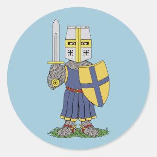Cute Medieval Knight Classic Round Sticker