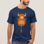 Cute Meditating Cartoon Highland Cow T-Shirt