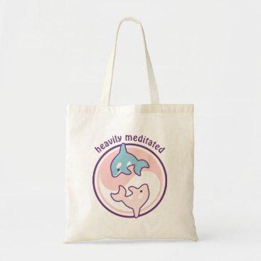 Beach Themed Cute Meditating Whales Tote Bag