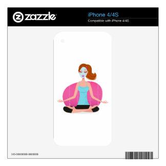 Cute Meditation girl : Tshirts iPhone 4S Skin