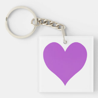 Cute Medium Orchid Heart Keychain
