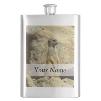 Cute meerkat photograph hip flask