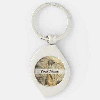 Cute meerkat photograph keychain