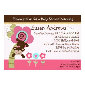 Cute Melanie Monkey Baby Shower Invititation Cards