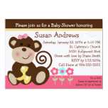 Cute Melanie Monkey Baby Shower Invititation 5x7 Paper Invitation Card